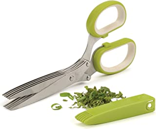 RSVP International (SNIP) Stainless Steel 5 Blade Herb Scissors, Green/White | Cut, Chop, Mince & Snip Herbs | Easy & Safe...