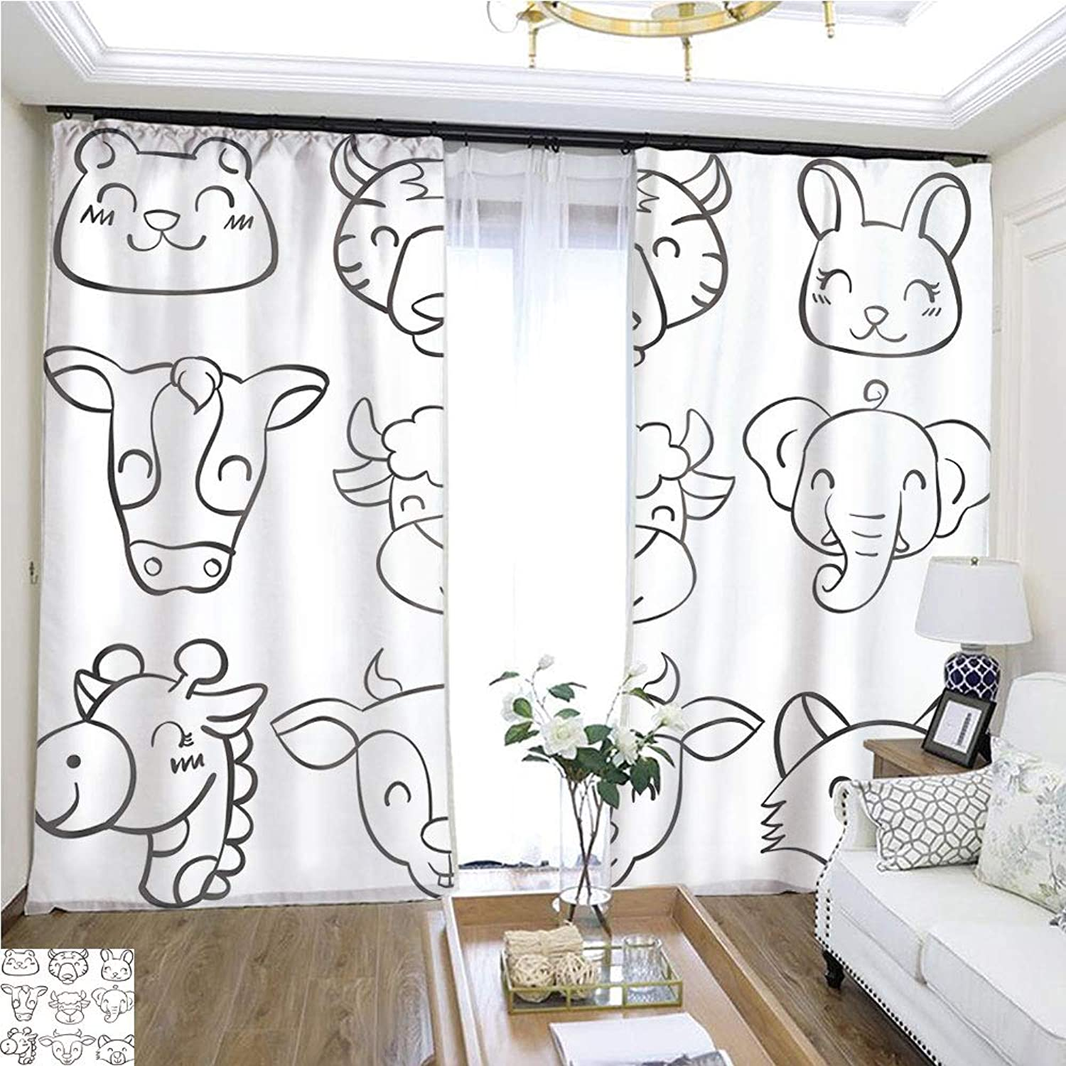 Air Port Screen Doodle Animal Head Hand Draw Vector Illustration W96 x L288 Provide Heat Highprecision Curtains for bedrooms Living Rooms Kitchens etc.