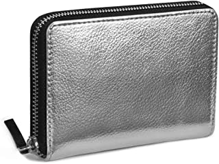 DailyObjects Zipper Slim Card & Coin Wallet Colour- Silver, Size- 4.7X.75x3.2 Inch