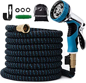 25 FT Expandable Garden Hose-Lightweight Expanding Water Hose with 10 Function Nozzle and Storage Bag