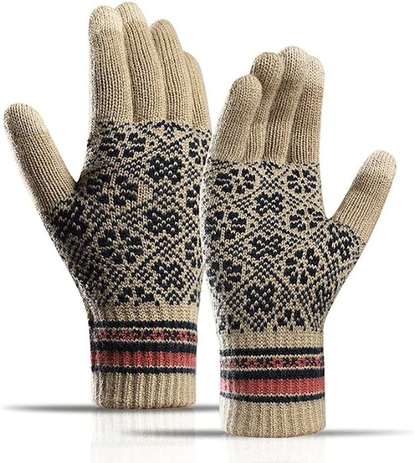Kxlqh Winter Knit Touchscreen Gloves, Windproof Thicken Warm Classic Fashion Soft Thermal Gloves, Texting Gloves Touchscreen Gloves for Cold Winter Outdoors Activities