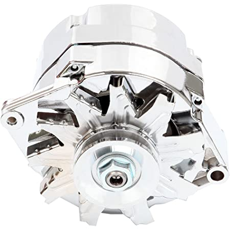 FEIPARTS Alternator Alternators Compatible with 110Amp Chrome Street Rod GM 305 350 BBC SBC 1 Wire Self Exciting