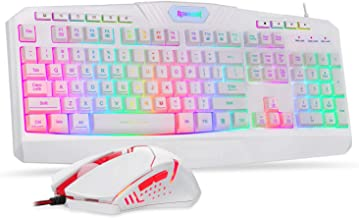 Redragon S101 Wired Gaming Keyboard and Mouse Combo RGB Backlit Gaming Keyboard with Multimedia Keys Wrist Rest and Red Ba...