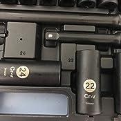 dise/ño /único de 6 puntos 10-32 mm acero Cr-V tama/ños m/étricos y est/ándar 16 unidades de z/ócalos universales gigantes Juego de llaves de vaso de impacto profundo de 1//2 FUHAO