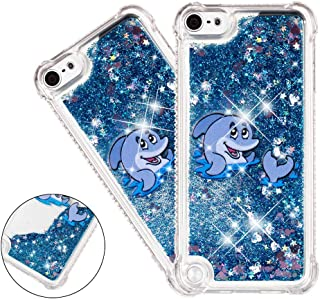 HMTECHUS iPod Touch 5 case for Girls 3D Cute Painted Glitter Liquid Sparkle Floating Luxury Quicksand Shockproof?Protective Diamond Silicone Slim Cover for iPod Touch 6 -Bilng Blue Dolphin YB