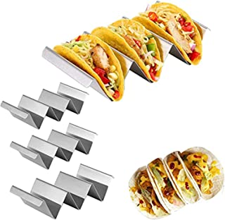 Taco Holder Stands, Set of 4 - Stainless Steel Taco Tray with Built-in Handle, Bonus Stainless Steel Clip - Safe for Oven,...