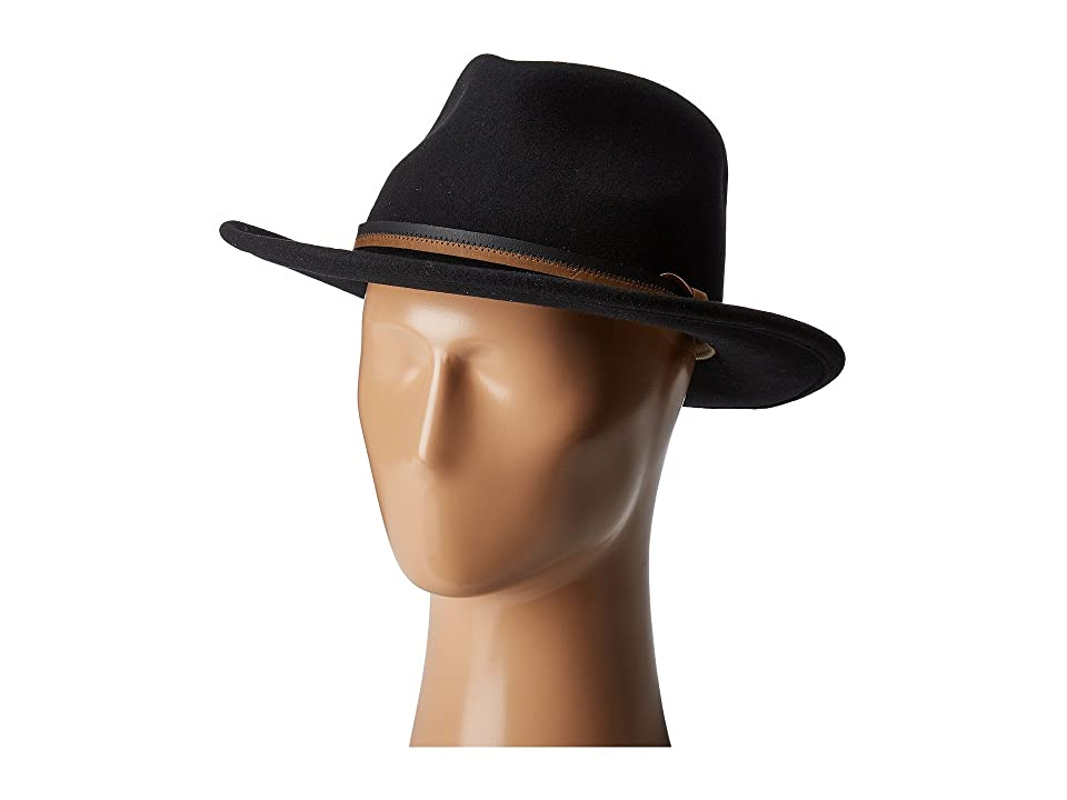 Country Gentleman Outback Wool Drop Brim Fedora Hat (Black) Caps