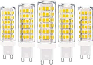 ZFQ 5 Unidades Bombillas de Cerámica LED G9 Sin Parpadeo, 9W, Equivalente a Halógeno de 90W, 900LM, Luz Blanca Cálida 3000K, Bajo Calor, AC 110–240V, No Regulable