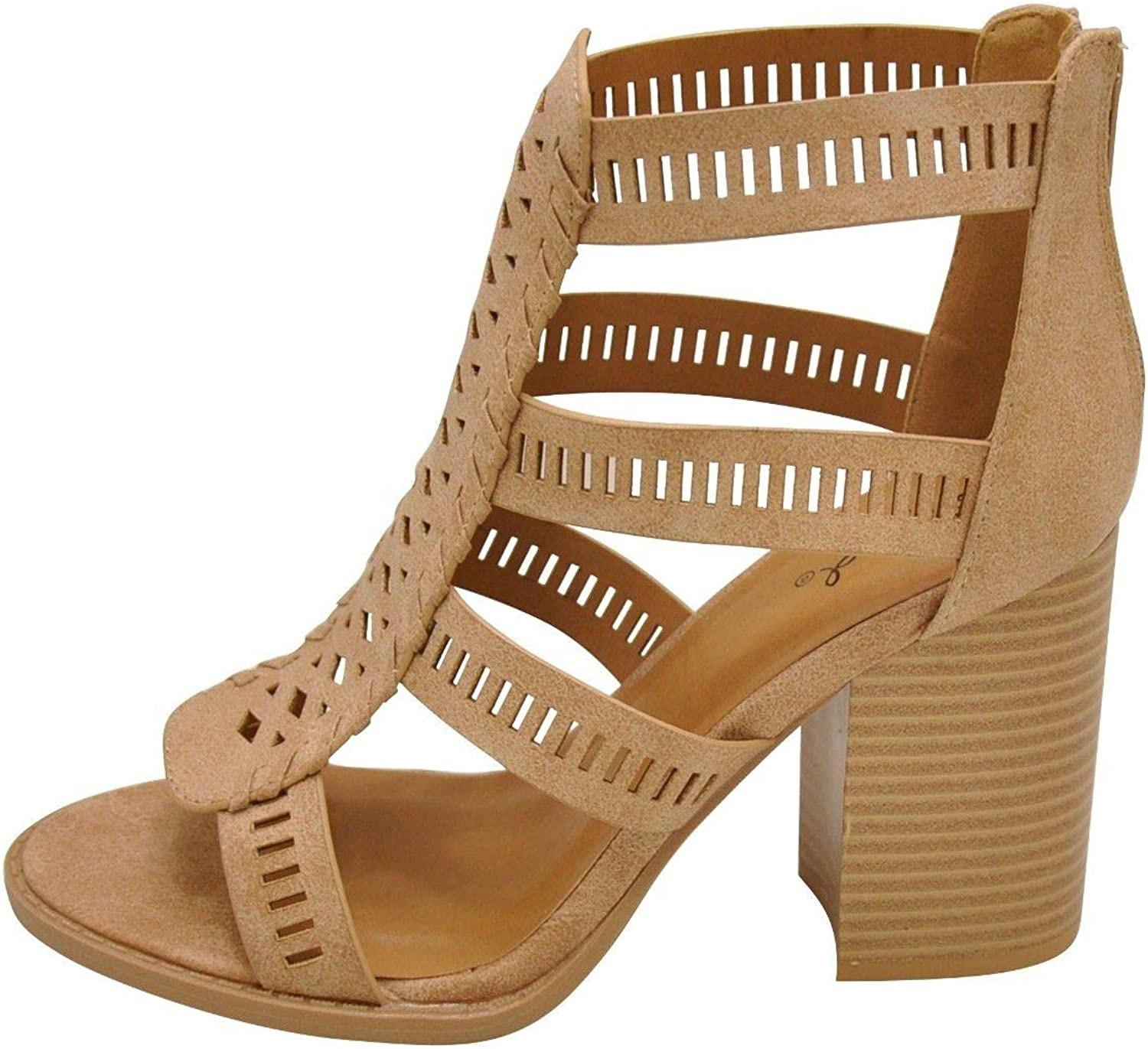 Qupid BRAMMER 56X Women's Strappy Open Toe Chunky Heels