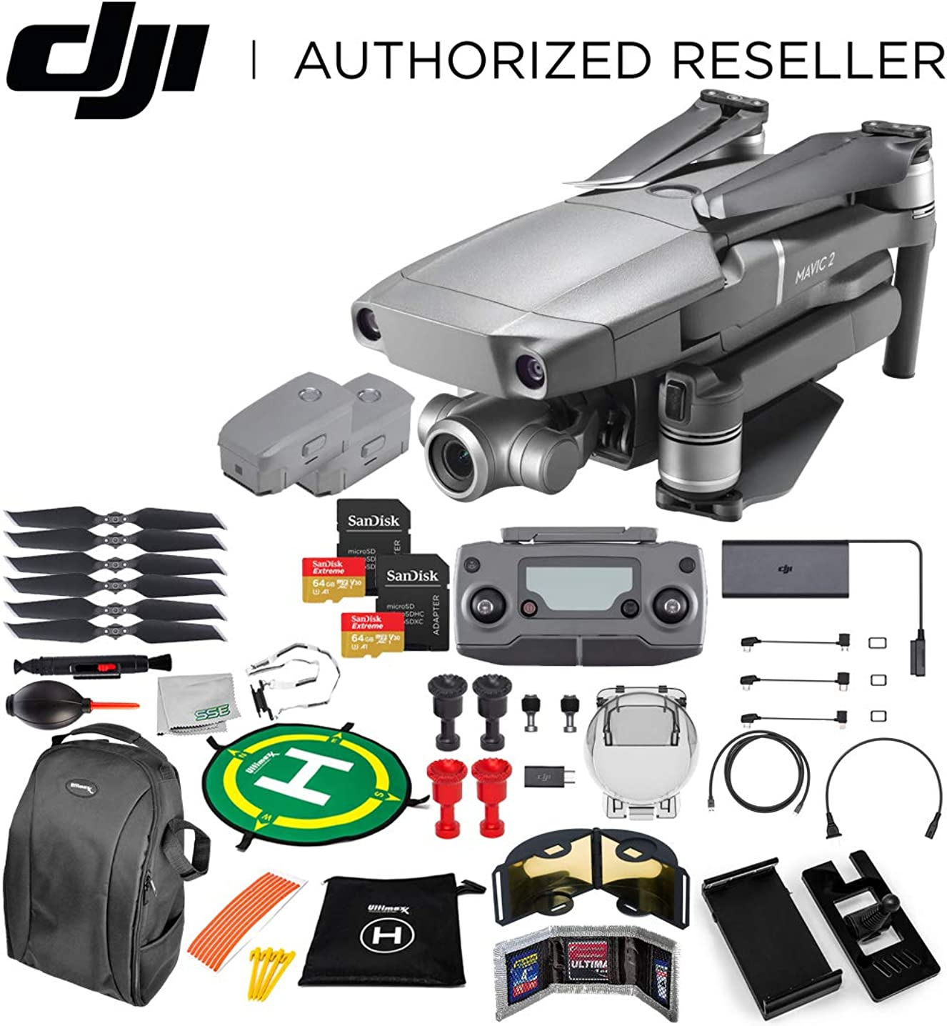 DJI Mavic 2 Zoom Drone Quadcopter with 24-48mm Optical Zoom Camera 2-Battery 128GB Ultimate Bundle