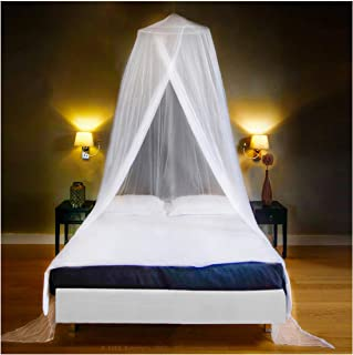 EVEN NATURALS Luxury Mosquito Net Bed Canopy, Large: for Single to Queen Size, Quick Easy Installation, Finest Holes: Mesh 380, Curtain Netting with Entry, Storage Bag, No Chemicals Added, 335""