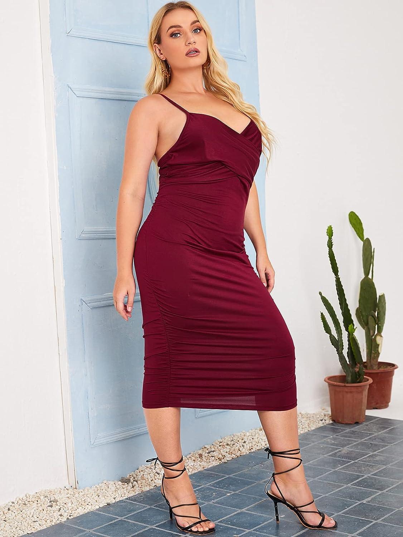 SheIn Women's Plus Criss Cross Ruched Sleeveless Party Cami Bodycon Midi Dress