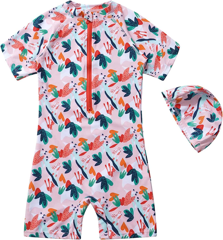 Moily Kids Girls Minneapolis Louisville-Jefferson County Mall Mall Print Zip Rash S UPF Swimsuit 50+ Guard Ruffled
