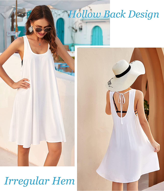 ADOME Summer Dress for Women Beach Loose Swim Cover Up Causal Tank Dress