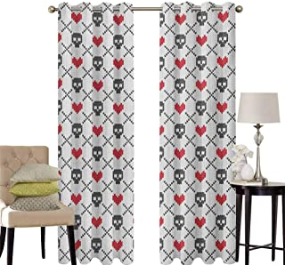 hengshu Skull Pattern Curtains Blackout Geometric Skulls and Hearts Crosses Stitch Work Knitted Nordic Pattern Print Bedroom Decor Living Room Decor W42 x L63 Inch Grey Red Coconut