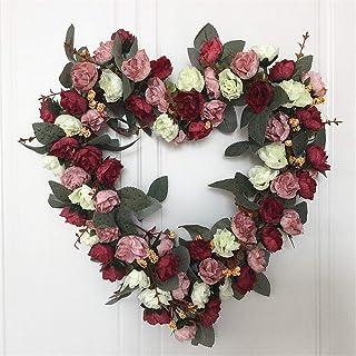 White rose heart wreath valentines wreath front door wreath rose hanging white heart flower heart door wreath white rose door wreath