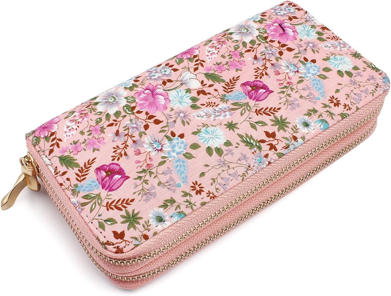 Floral Double Zipper Wallet (Pink)