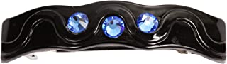 Caravan Rolling Thick Hair Barrette with 3 Sapphire Swarovski Rhine Stone, 0.5 Ounce