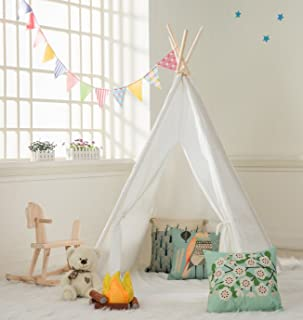 DalosDream Indoor Outdoor Classic White Cotton Canvas Play Teepee Tent for Toddler Kids with Mat Floor and Carry bag