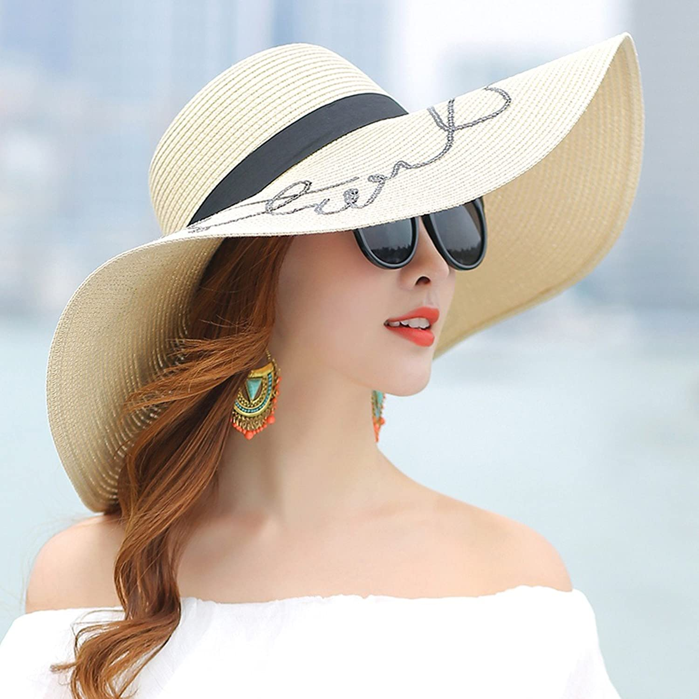 SSBY Summer Women'S Simple Sunshade Hat Sunscreen Sunscreen Suncap Foldable Big Eaves Beach Cap Holiday Hat