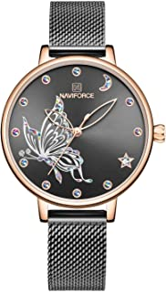 NAVIFORCE Womens Fashion Watches Waterproof Analog Luxury Wristwatch Unique Face Design Casual Dress Watches for Ladies