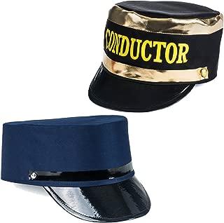 Tigerdoe Conductor Hat - Train Engineer Hats - Costume Hats - (2 Pack) Dress Up Hats Black