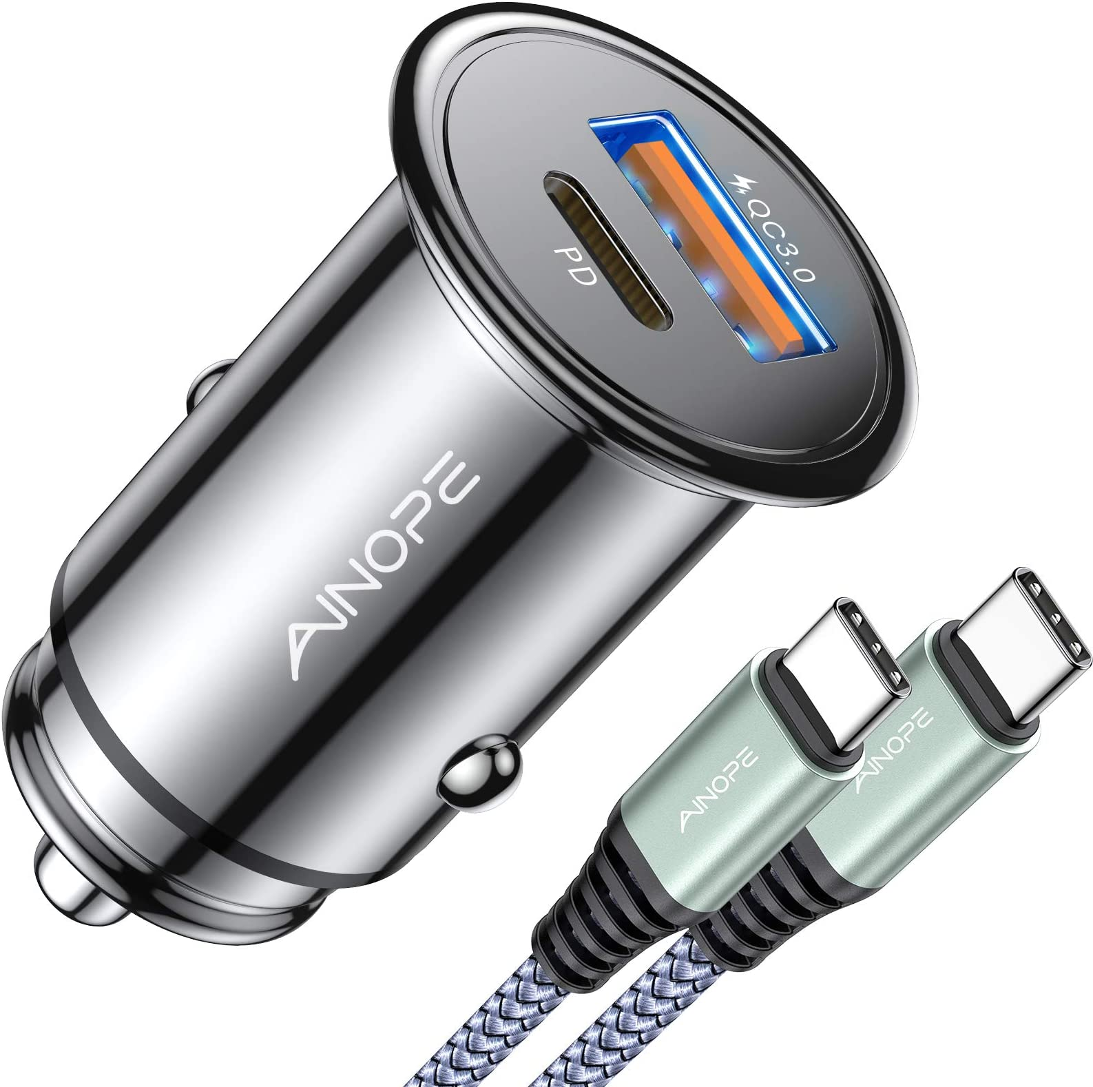 USB C Car Charger Super Mini AINOPE All Metal 36W Fast USB Car Charger PD&QC 3.0 Dual Port Car Adapter Compatible with iPhone 12/12 Pro/Max/12 Mini/iPhone 11/Pro/Max/XR/XS/Max/8, Galaxy S21/20/10/9