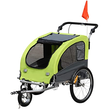 Aosom Elite II 2-in-1 Pet Dog Bike Trailer and Stroller with Suspension and Storage Pockets