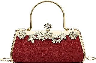 MEGAUK Damen Glitzer Abendtasche Vintage Clutch Tasche mit Abnehmbare Kette für Hochzeit Bankett Prom Party, Rot