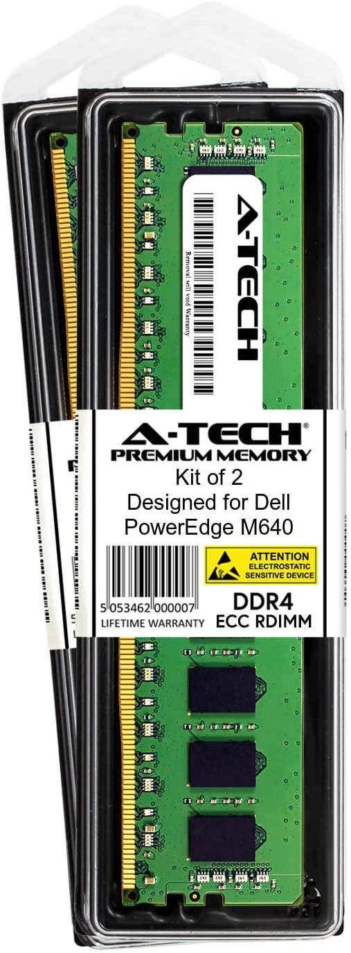 Server Specific Memory Ram DDR4 PC4-21300 2666Mhz ECC Registered RDIMM 2Rx8 A-Tech 8GB Module for Dell PowerEdge M640 AT316632SRV-X1R8