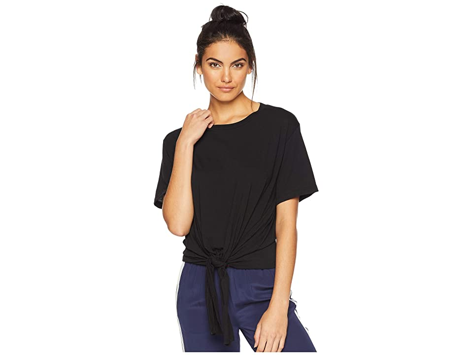 7 For All Mankind Tunnel Front Tee w/ Back Tab (Black) Women