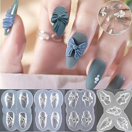 Amazon Com Diy 3d Diseño De Silicona Nail Art Plantillas Decorativas Acrílico Uñas Tallado Molde Herramienta De Maquillaje Beauty