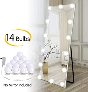 Hollywood LED Vanity Lights Strip Kit with 14 Dimmable Light Bulbs for Full Body Length Makeup Mirror & Bathroom Wall Mirror, Plug in Vanity Mirror Lights with Power Supply, White (No Mirror Included)