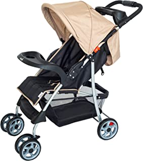 Moon Trek - One Fold Travel Stroller/Pram suitable for new born/infant/Babies/kids(From birth to 4 Years)(0-24 Kg) -Beige