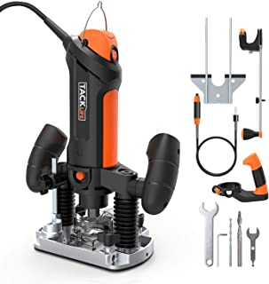 TACKLIFE Plunge and Fixed Base Router, 30,000RPM Compact Router Kit, 6 Variable Speed Router Tool, 1/8