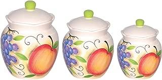 Lorenzo Fruit Design 3 Piece Deluxe Canister Set, Orange