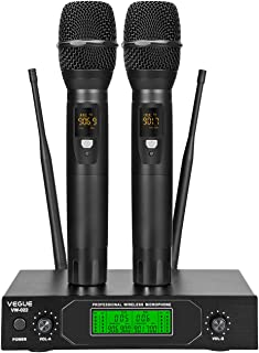 Wireless Microphone, VeGue Dual UHF Cordless Mic Set with Handheld Metal Mics, Interference-Free 300ft Long Operation, Ideal for Karaoke, Party, DJ, Church, Wedding, Class Use