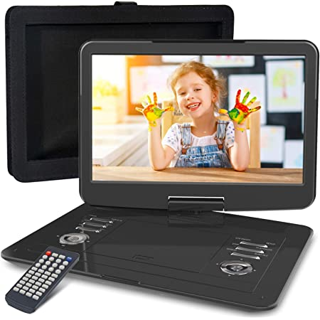 """WONNIE 16.9"""" Portable DVD/CD Player with 14.1"""" Large Swivel Screen, Car Headrest Case, 6 Hrs 4000mAH Rechargeable Battery, Regions Free, Support USB/SD Card/ Sync TV, High Volume Speaker"""