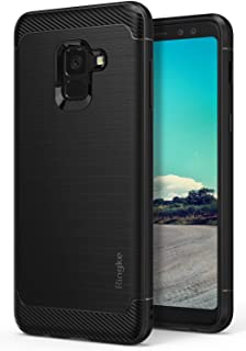 Ringke Onyx Compatible with Galaxy A8 2018 Case Fine Brushed Metal Design Flexible & Slim Dynamic Stroked Line Pattern Trim Durable Anti-Slip TPU Impact Shock-Absorbent Case - Black