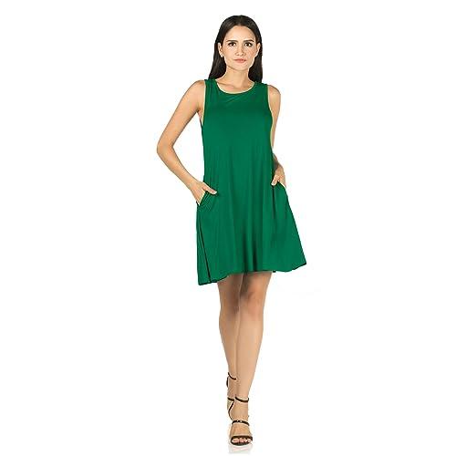 beb4c9d610b Mia Suri Women s Sleeveless Casual Summer T-Shirt Swing Dress with Pockets