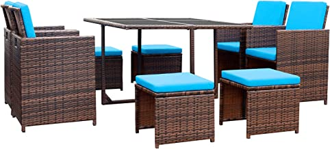 Devoko 9 Pieces Patio Dining Sets Outdoor Space Saving Rattan Chairs with Glass Table Patio Furniture Sets Cushioned Seati...