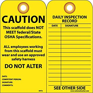 6 x 3 National Marker RPT180ST250 Tags Polytag Box of 250 Tag Scaffold Inspection This Scaffolding Has Been Constructed to Support