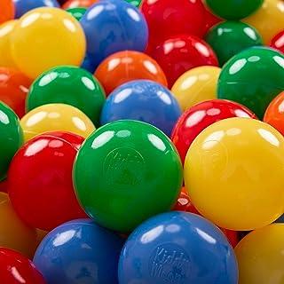 KiddyMoon 100 ∅ 7Cm Bolas Colores De Plastico para Piscina Certificadas para Ninos- Amarillo Verde Azul Rojo Naranja