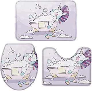 OneHoney 3-Piece Bath Rug and Mat Sets, Funny Unicorn Bubble Bath Non-Slip Bathroom Doormat Runner Rugs, Toilet Seat Cover, U-Shaped Toilet Floor Mat Cartoon Cute Animal Large