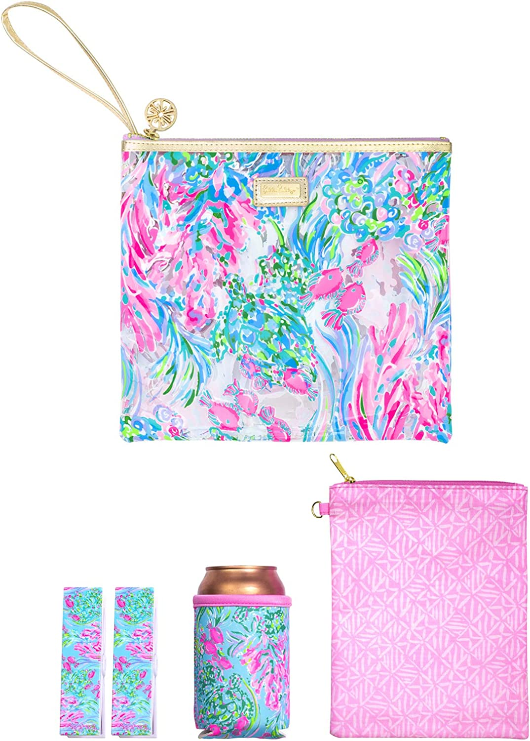 Lilly Pulitzer Water Resistant Vinyl Beach Day Pouch, Zipper Bag Includes Drink Hugger, Small Pouch, and Towel Clips