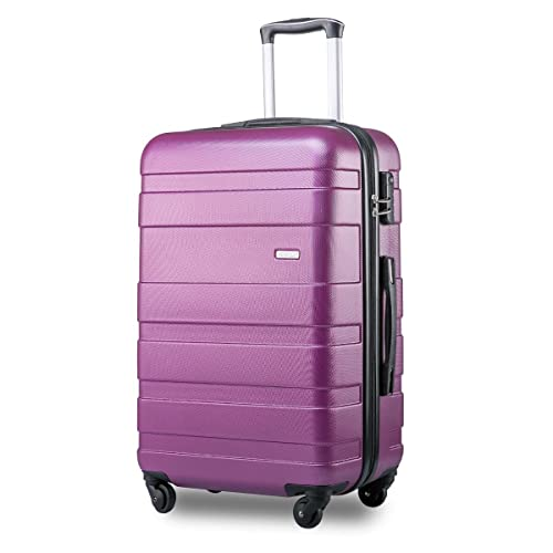 8f4bf372c Merax Hard Shell Carry On Cabin Hand Luggage Suitcase with 4 Wheels (Purple)