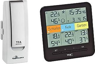 TFA Dostmann WeatherHub Starter Set Klima Termómetro higrómetro inalámbrico Smart Home con 3 transmisores, Negro/Blanco, L...