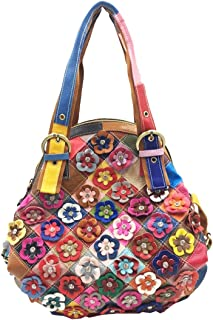Heshe Women's Hobo Shoulder Bags Cross Body Tote Handbags Purses with Flower Summer Style (Colorful-46)