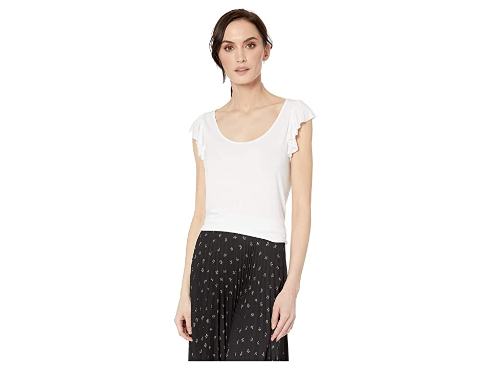 Tribal Soft Jersey Cami with Ruffle (White) Women