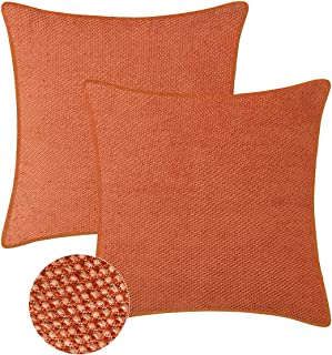 BRAWARM Pack of 2 Supersoft Throw Pillow Covers Cases for Couch Sofa Bed Solid Woven Corduroy Shining & Dull Contrast Dots with Piping Home Decoration 20 X 20 Inches Orange